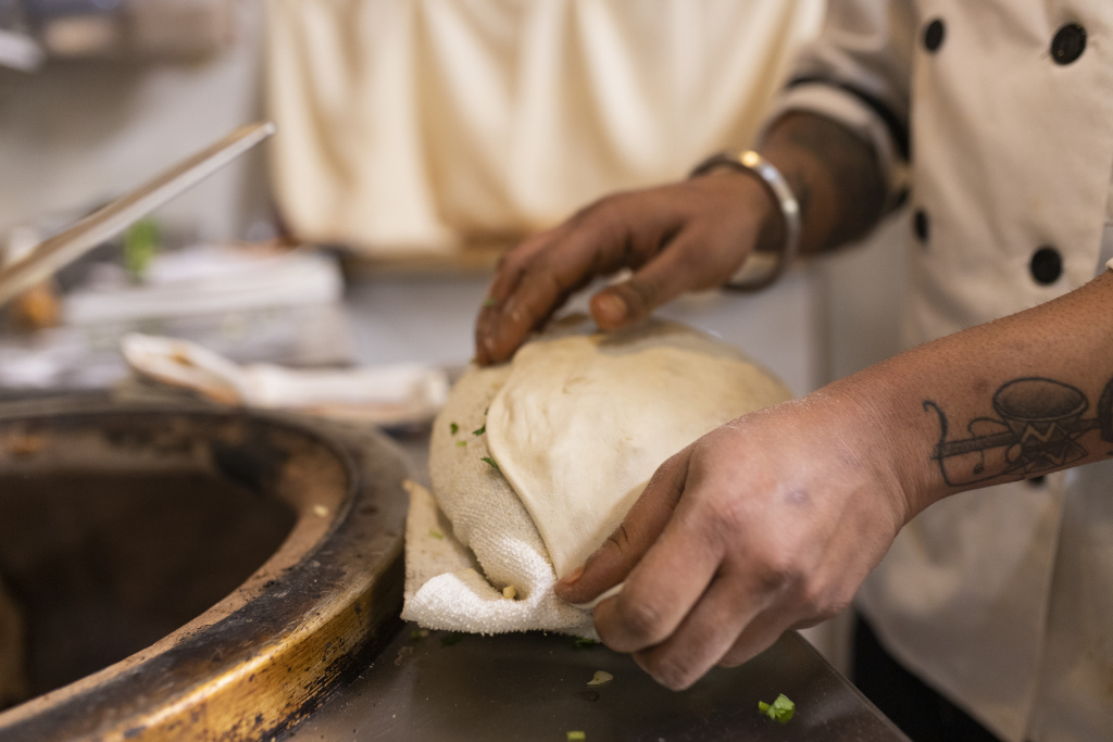 wrapping meat in dough