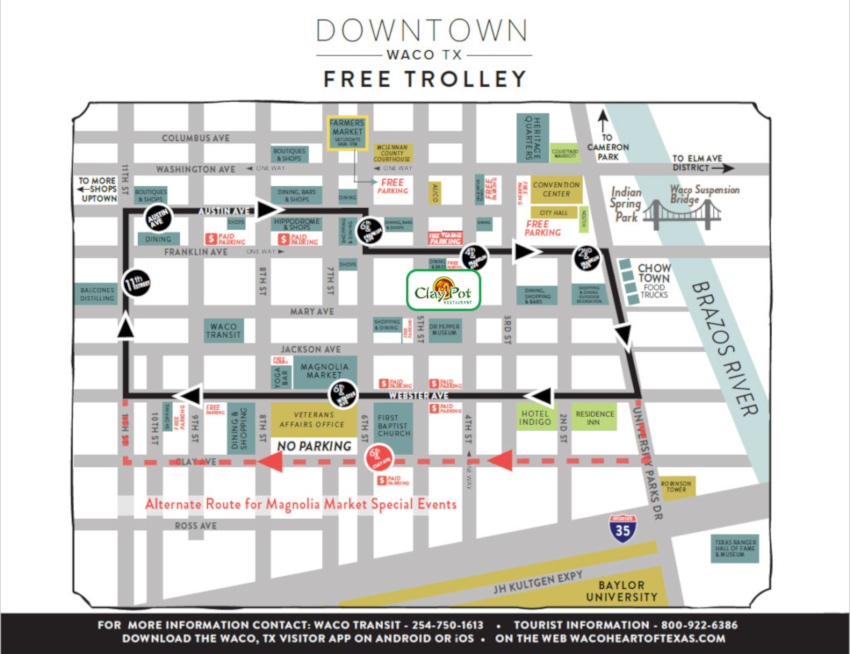 Downtown waco free trolley map