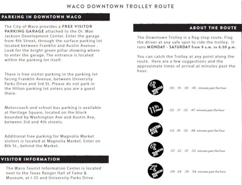Waco downtown trolley route