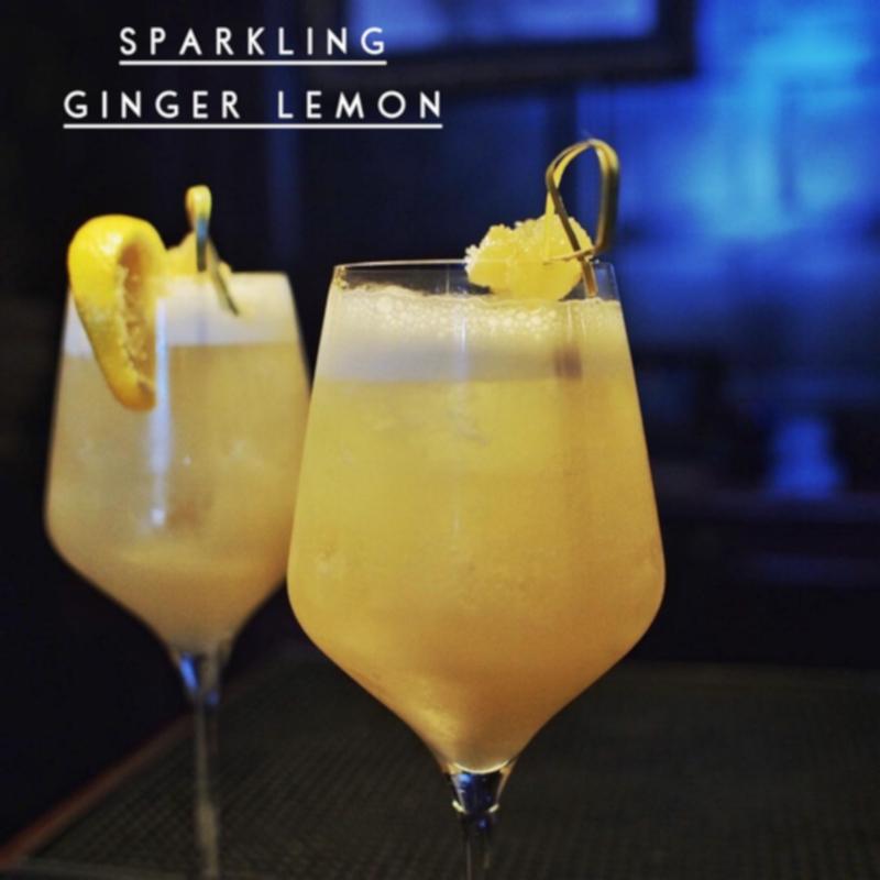 Two sparkling ginger lemon cocktails