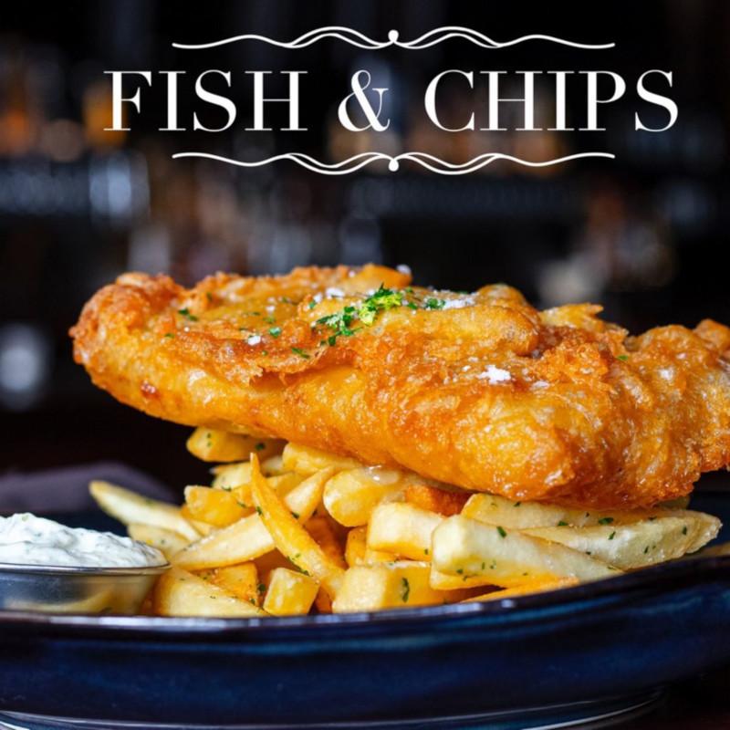 Fish and chips dish closeup