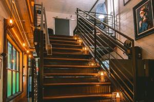 Restaurant interior, stairs