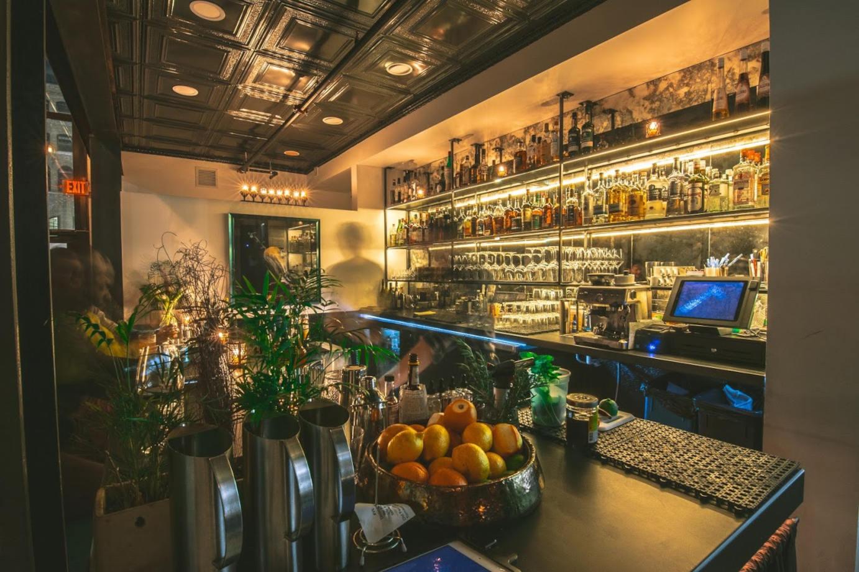 Restaurant interior, bar area in the back