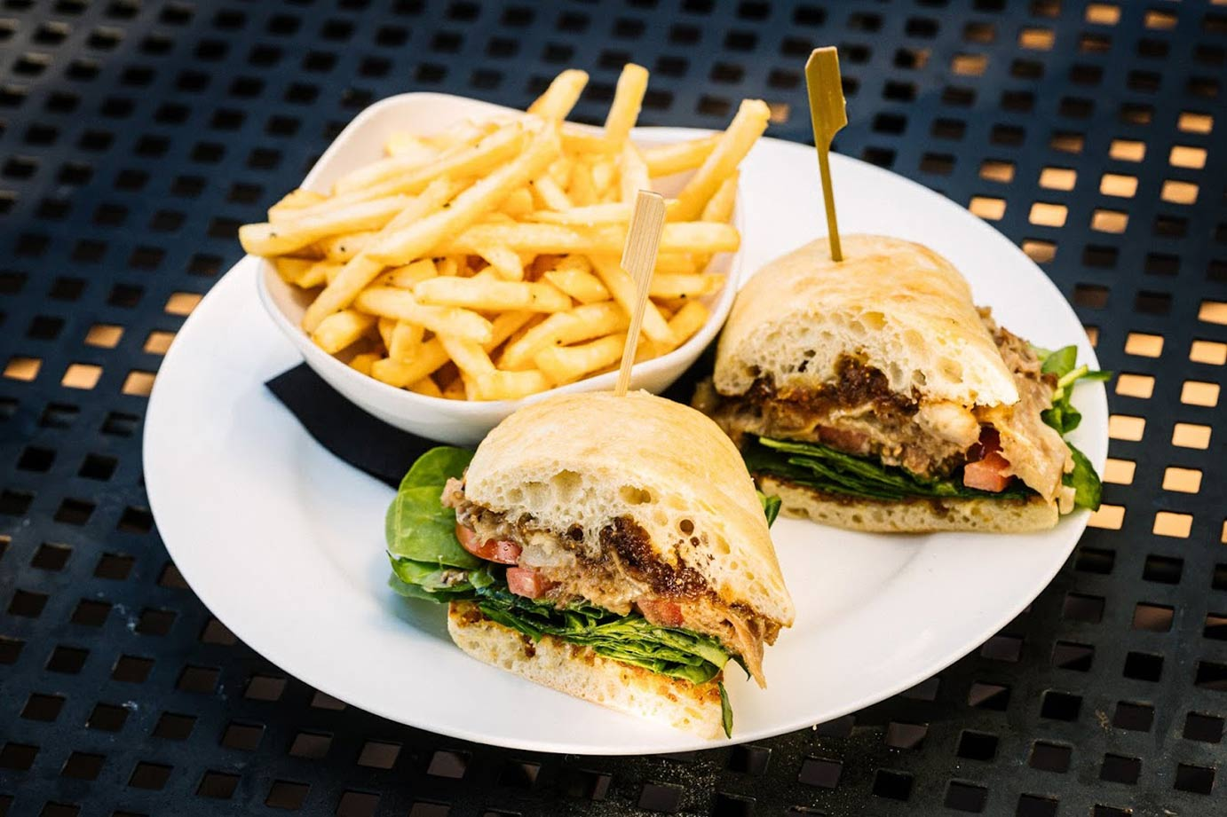 Sandwich burger with french fries