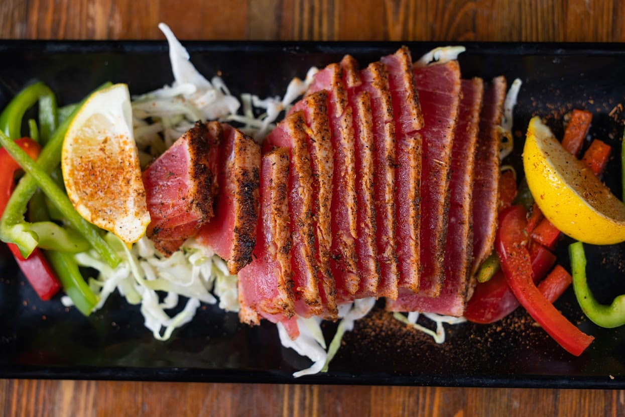 Smoked grilled meat and salad