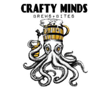 Crafty Minds Brews + Bites logo