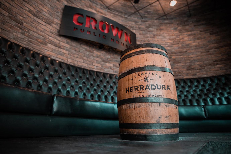 Restaurant interior with huge wooden barrel