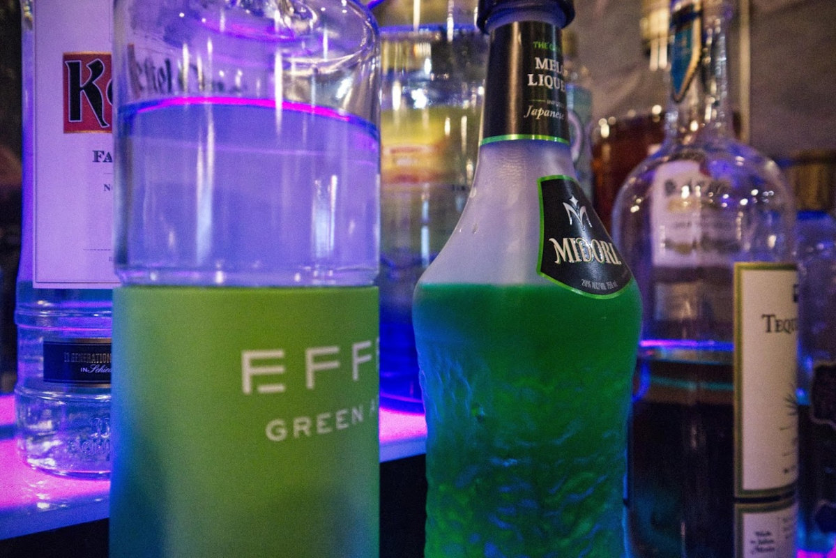 Different types of hard drink in bottles