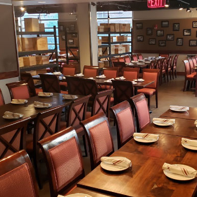 Tables ready for guests, restaurant interior