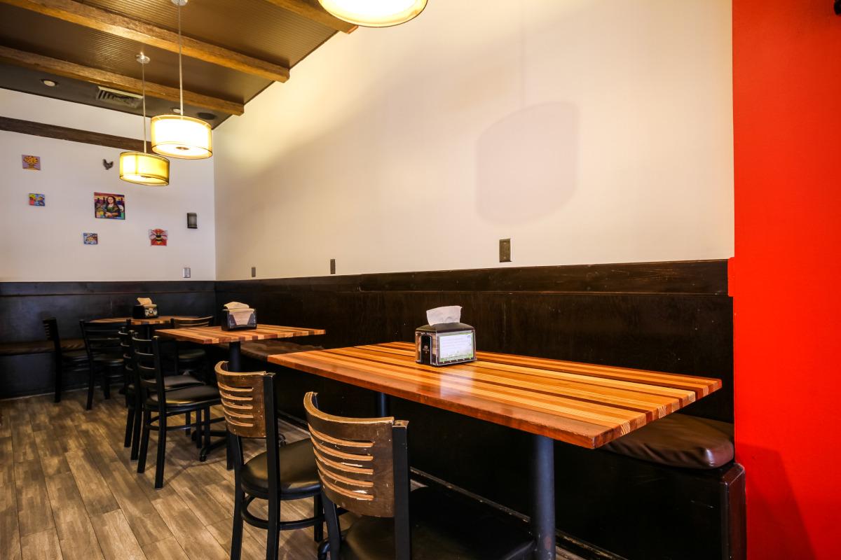 Private tables area, restaurant interior
