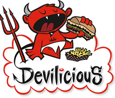 Devilicious Eatery logo scroll
