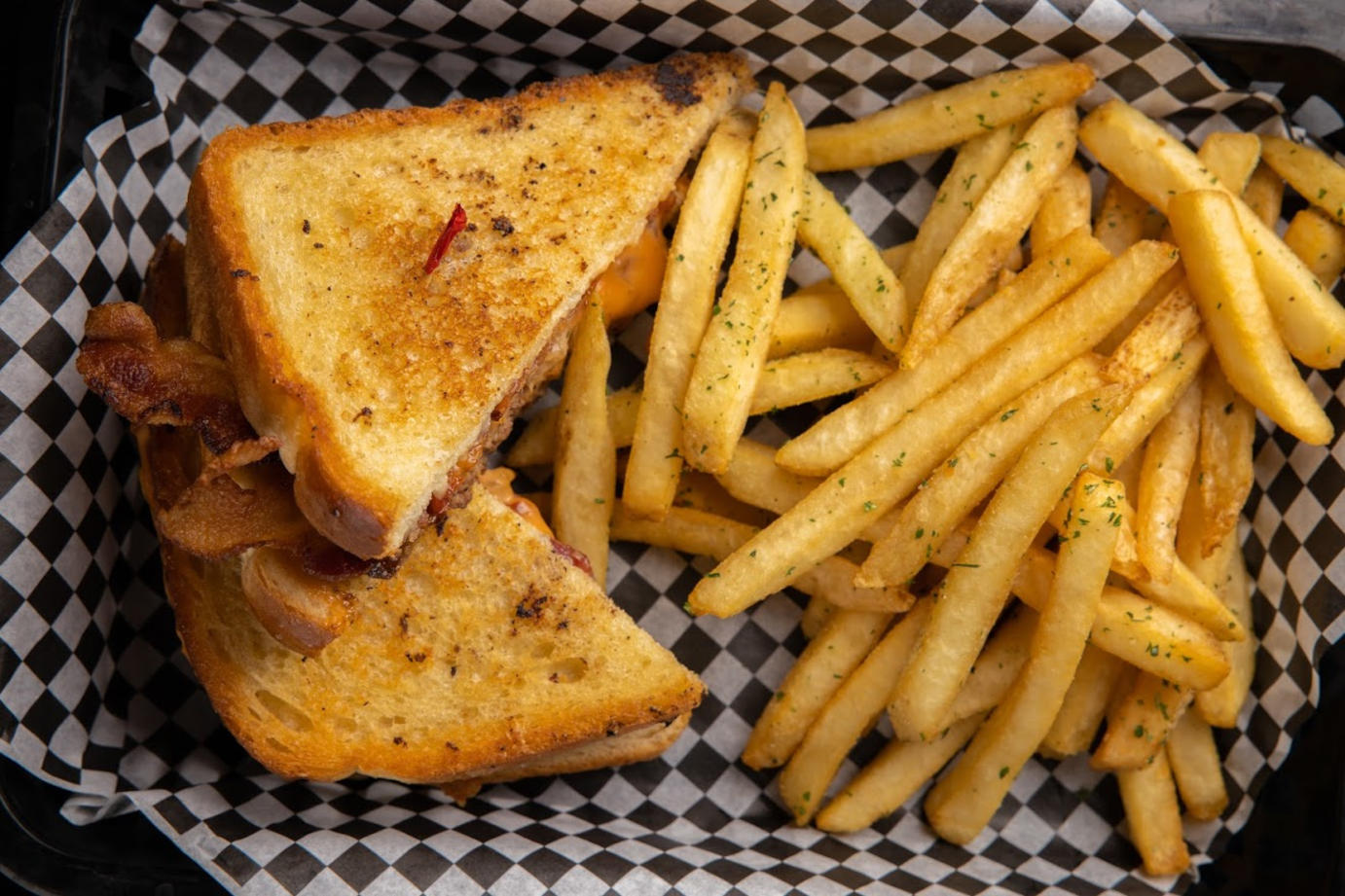 Grilled sandwich and fries