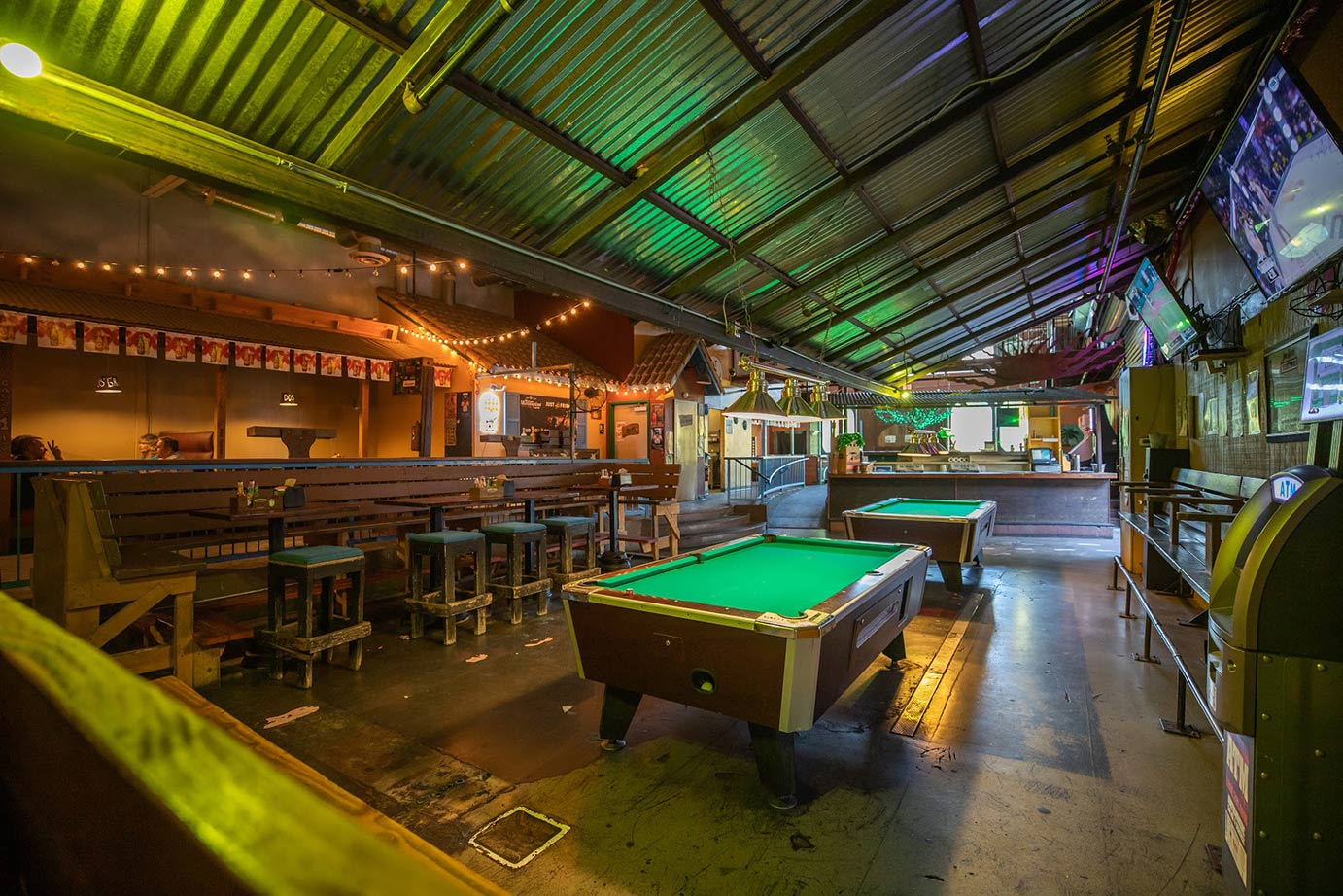 Bar interior with billiard table