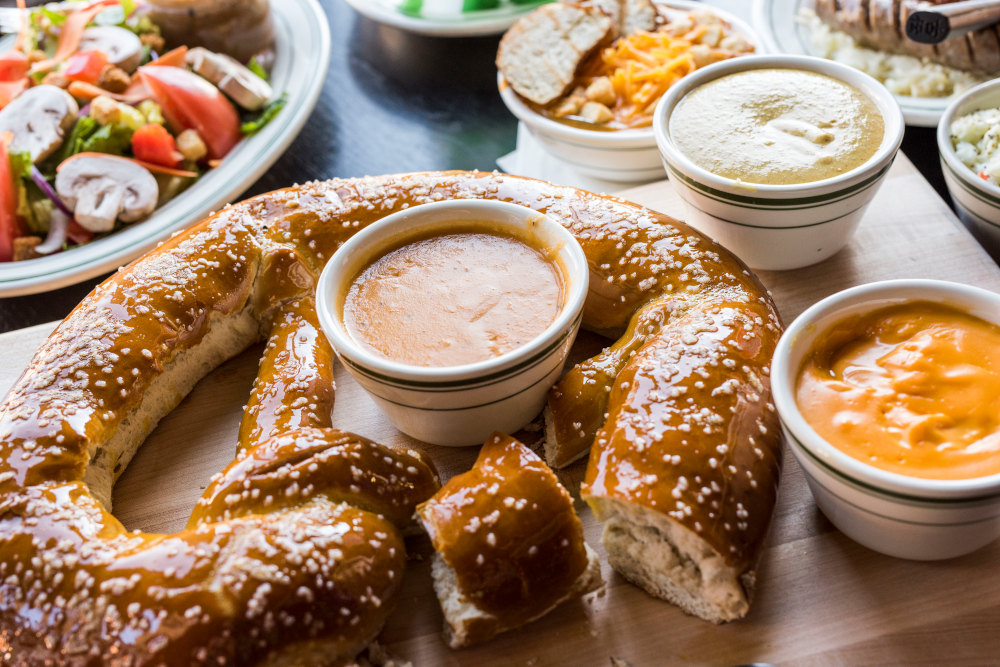 Fresh pastry with three different types of dip
