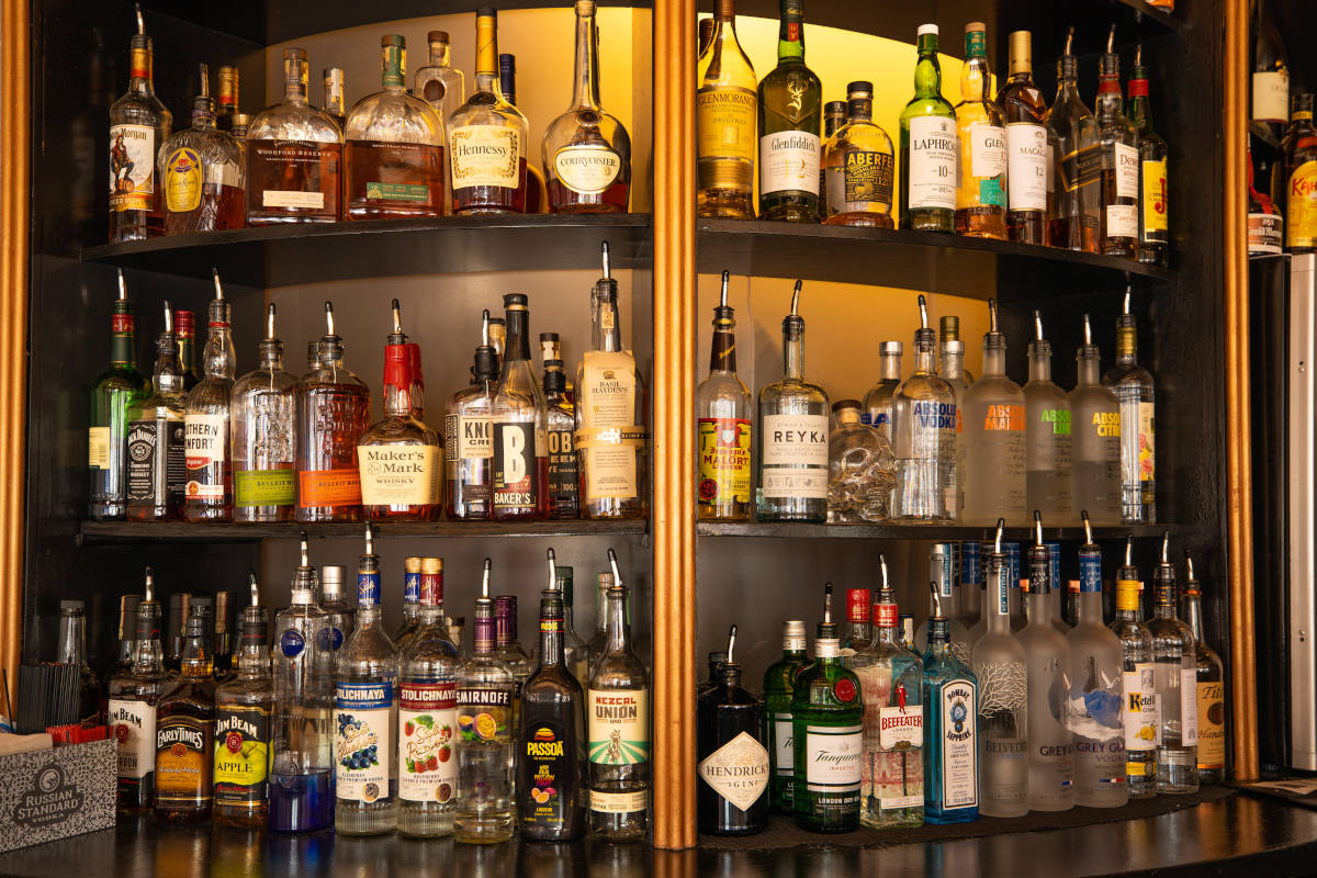 Bar with liquor