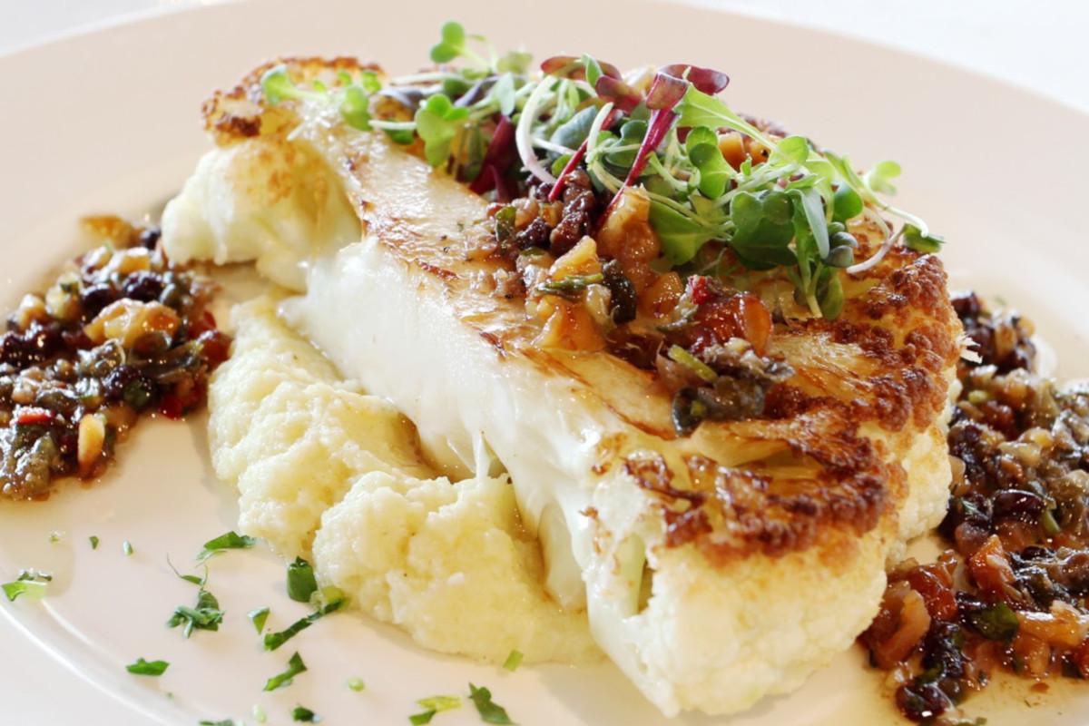 Cauliflower steak and puree