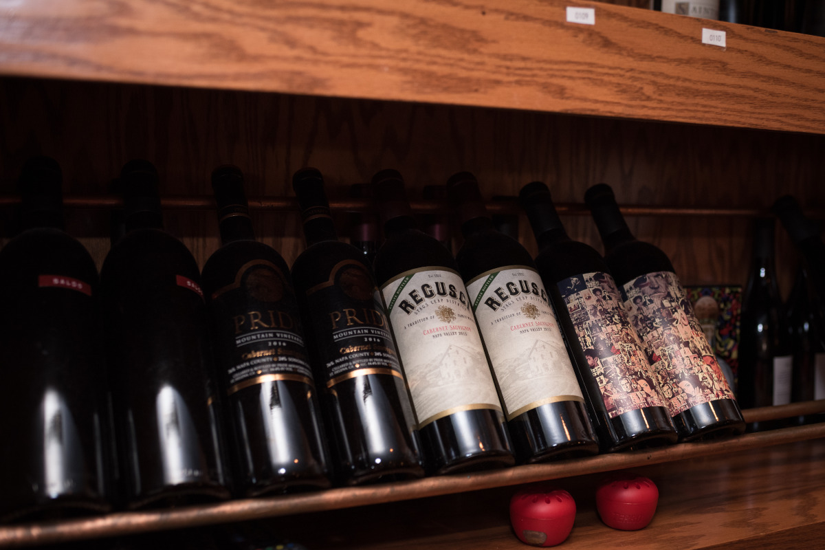 Shelves with bottles of wine