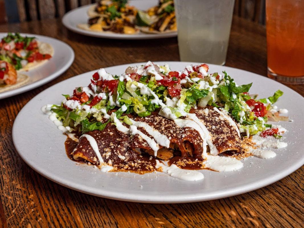 Enchiladas with pico de gallo