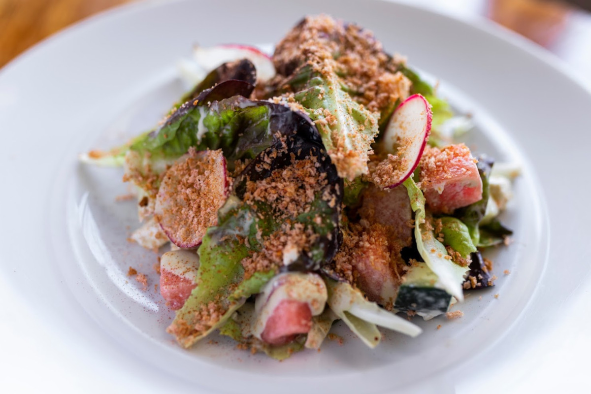 Mixed salad with spices on top
