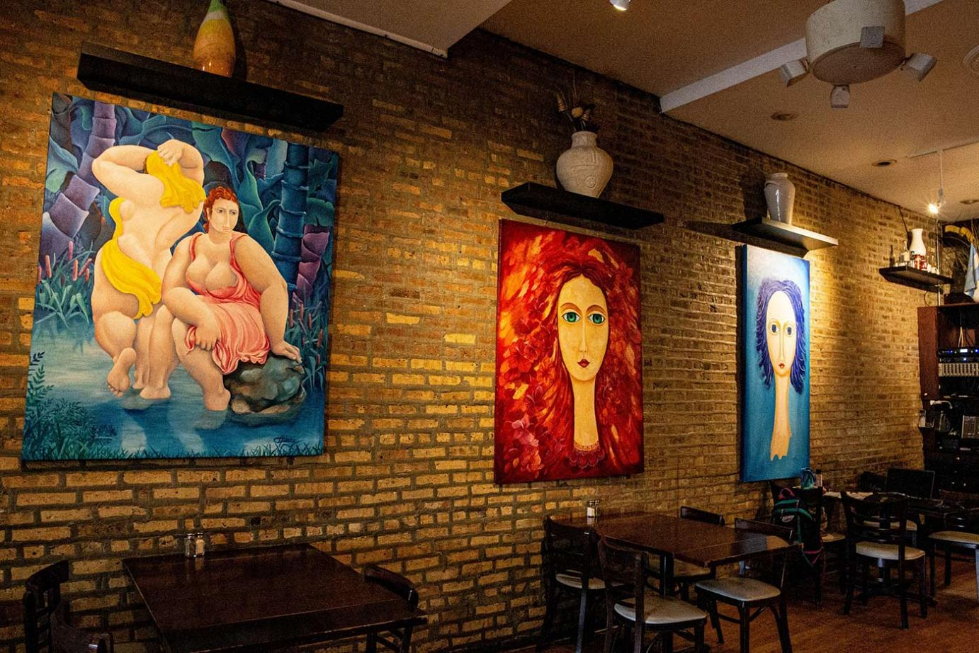 Restaurant interior with art on the wall