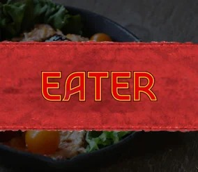 eater in lettering over a food plate