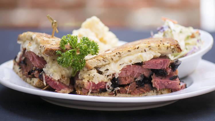 A meat sandwich closeup