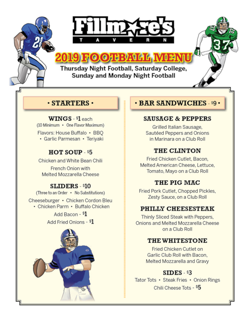 football specials menu photo