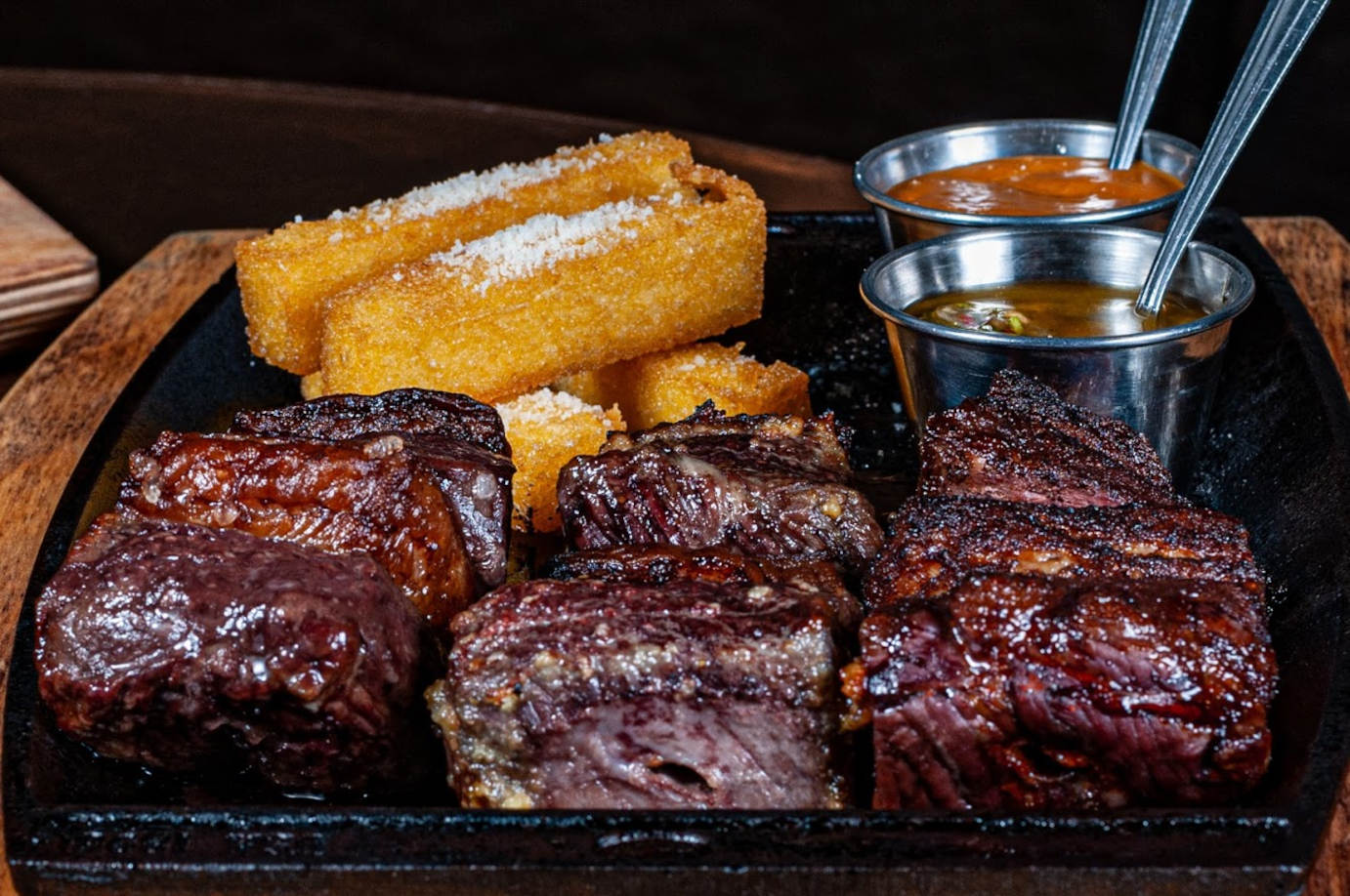 Grilled meat and two dips
