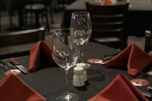 Table for four ready for guests