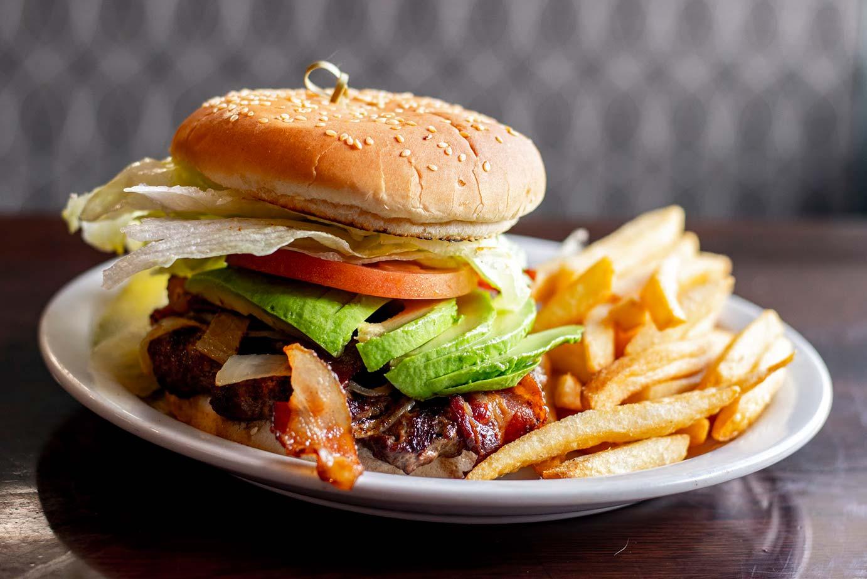Burger with bacon and avocado