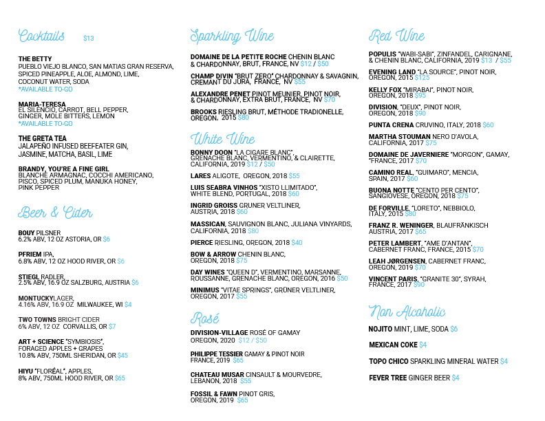 first menu list