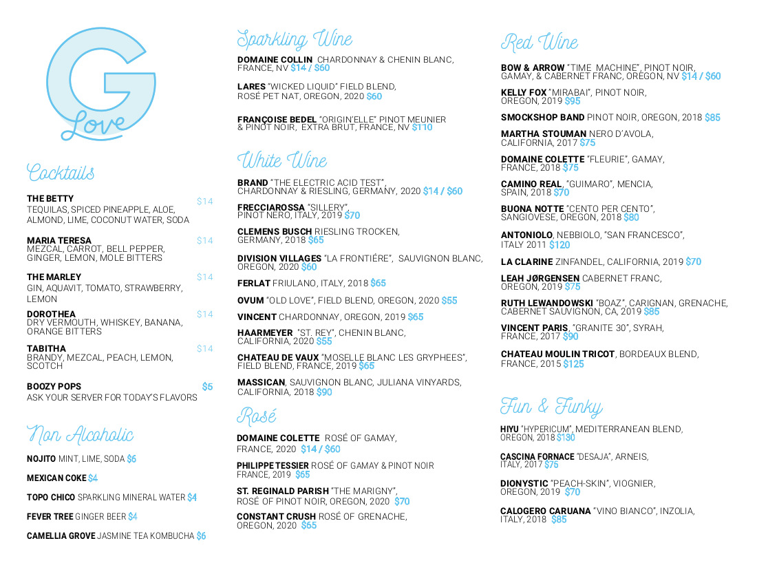 first menu list