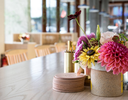 Table with flowers interior