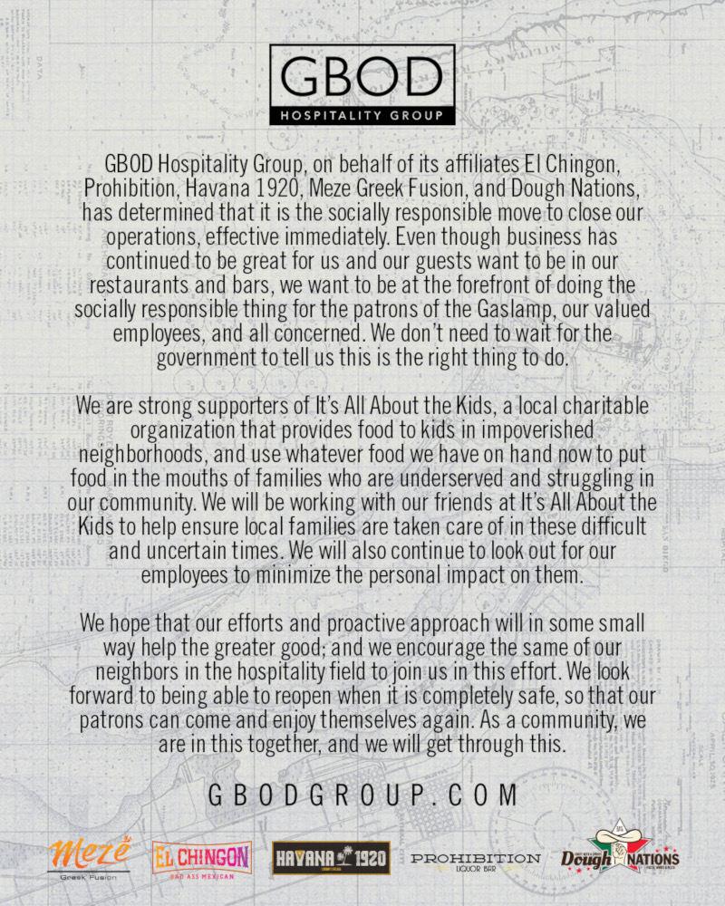 GBOD Closure Statement