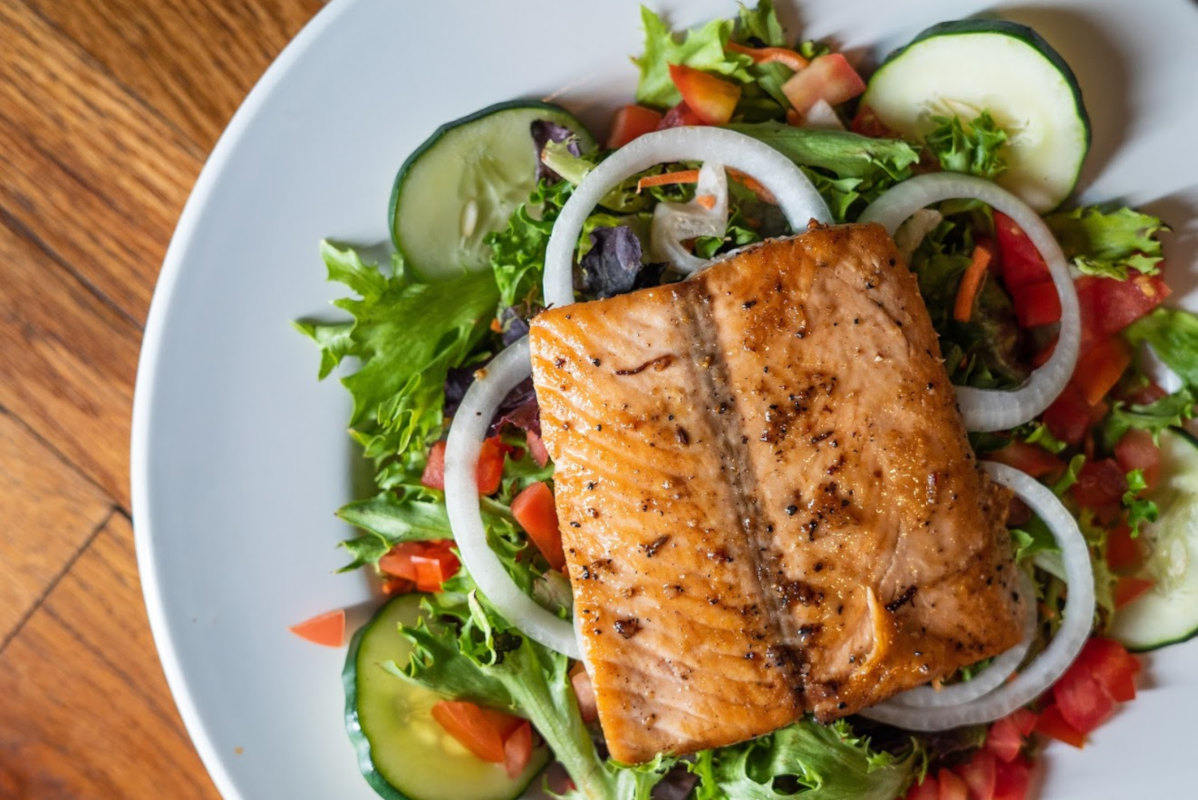 Grilled Salmon Over Garden Salad
