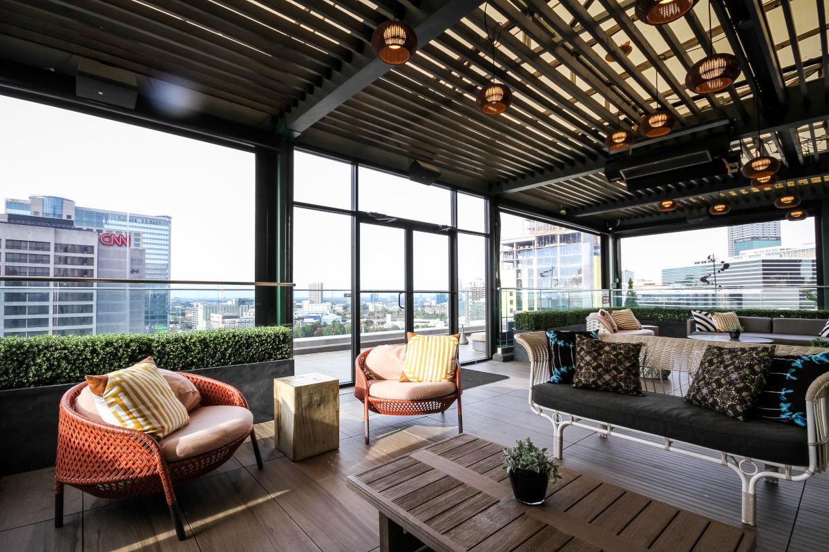 Outdoor patio, rooftop view