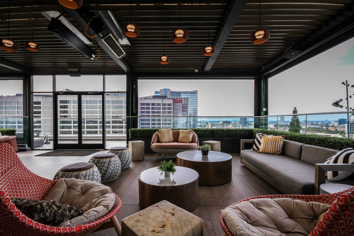 Outdoor patio, , low tables with view