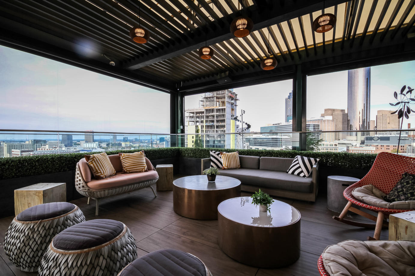 Outdoor patio, sitting corner with city view