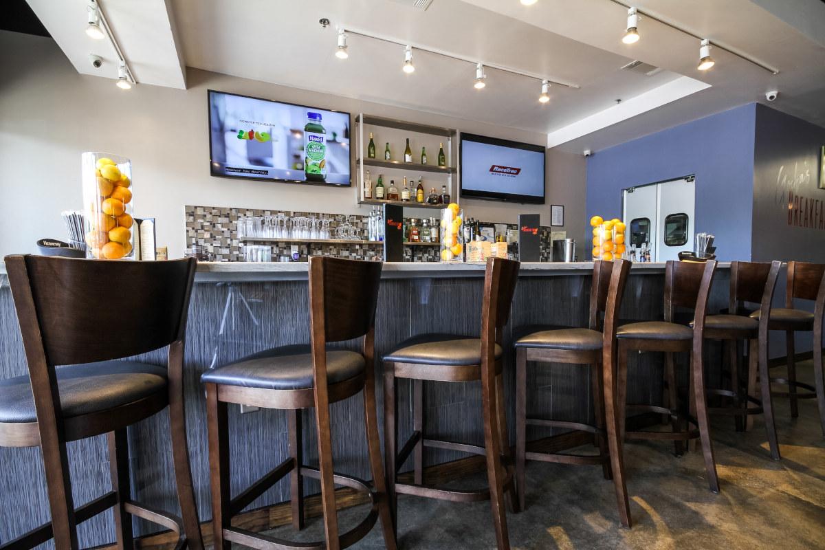 Interior, bar seating area