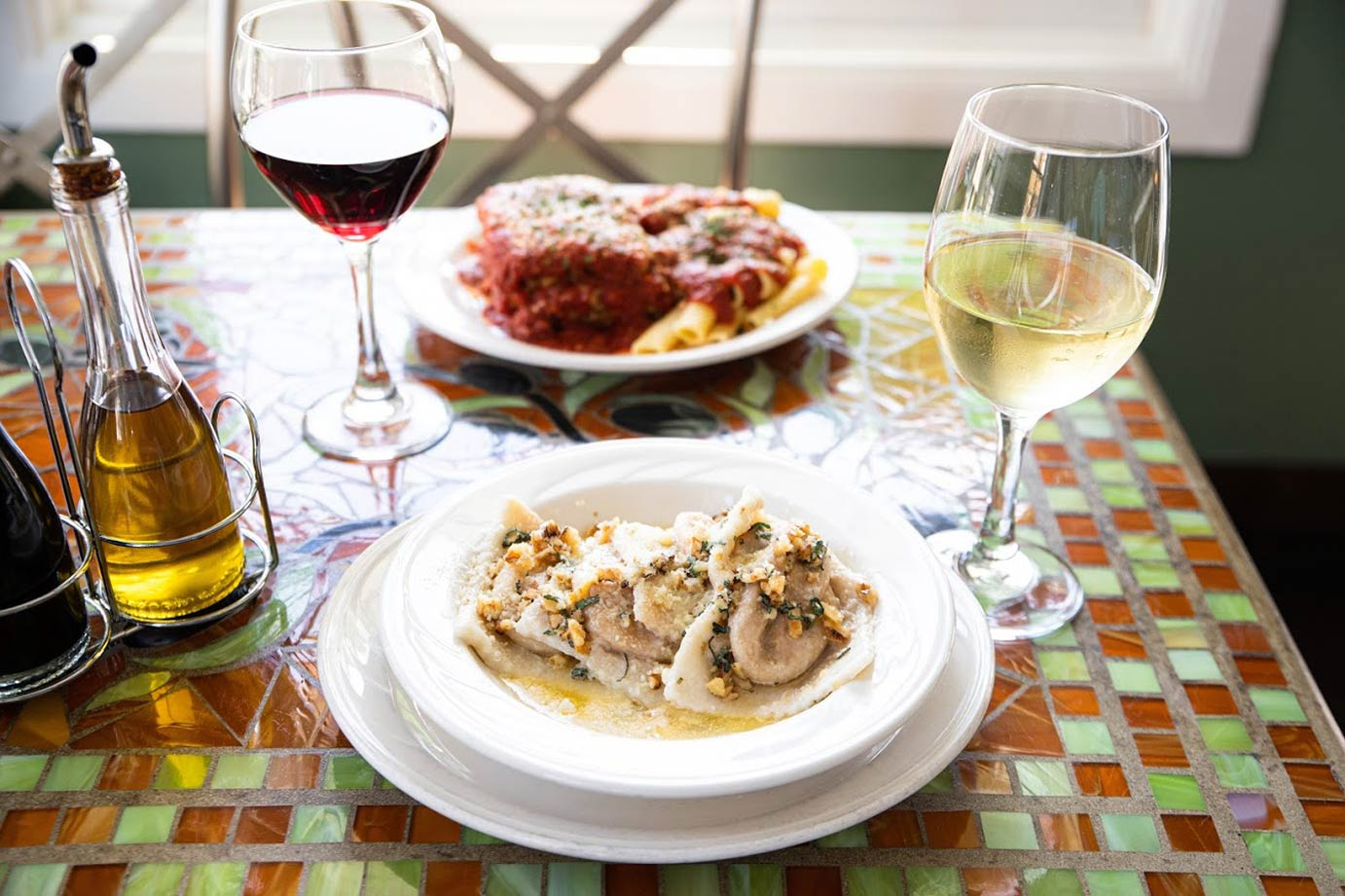 Two Italian meals with wine