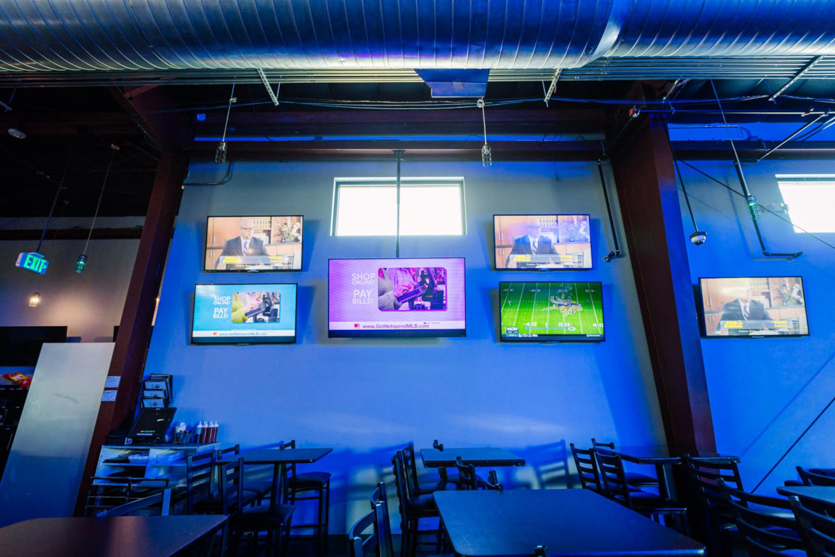 eall with large tv screens