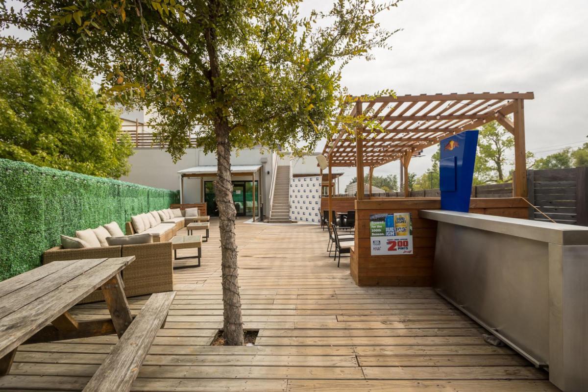 exterior, wooden patio, tree