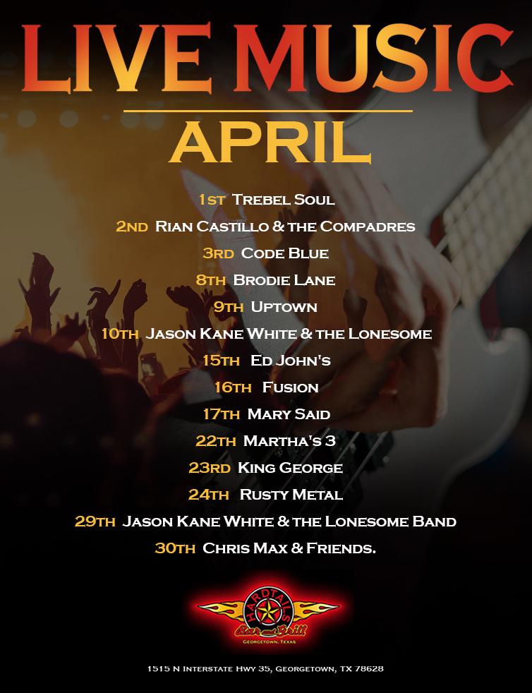 live music April flyer