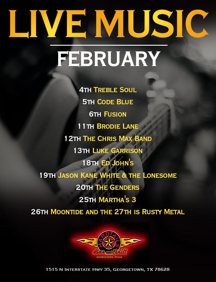 live music February flyer
