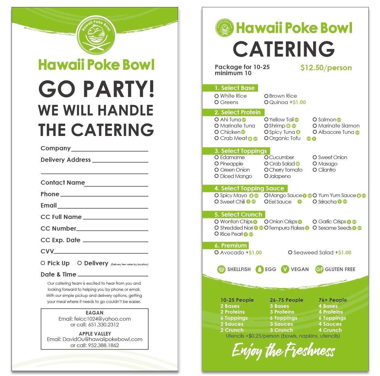 Catering menu