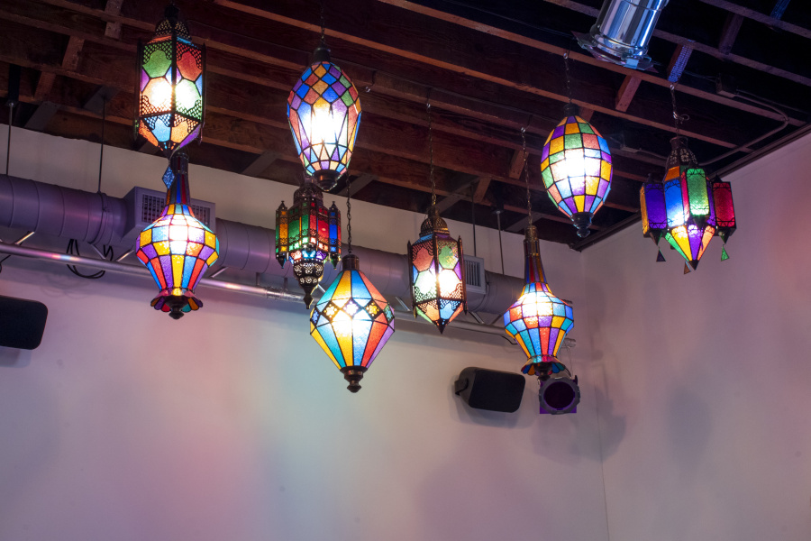 painted glass chandeliers