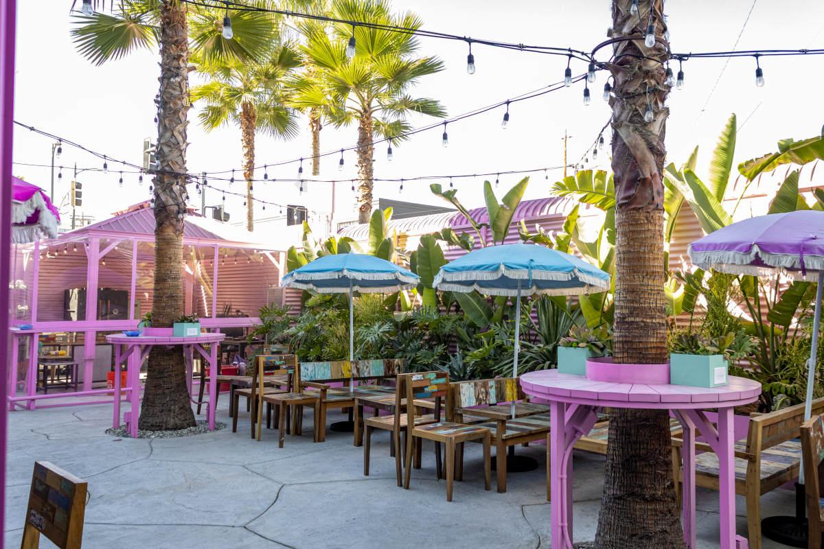 exterior, palm trees, parasols