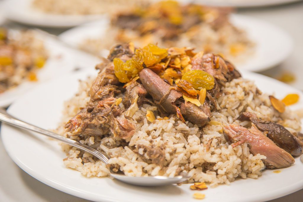 Rice and meat dish closeup