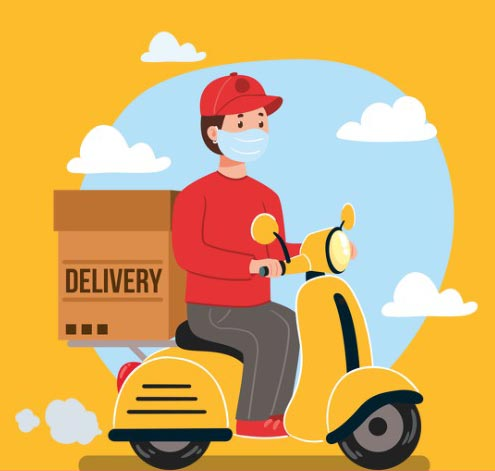 delivery boy with mask