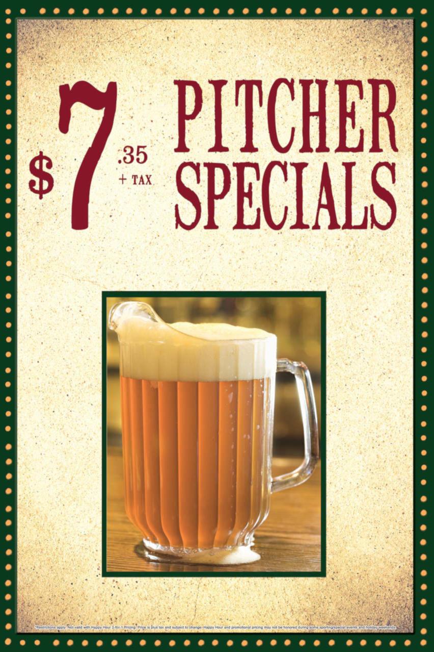 Pitcher Specials flyer, $7.35 plus tax
